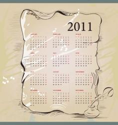 template for vintage calendar 2011 vector image