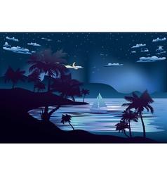 Tropical Island at Night2 vector image vector image