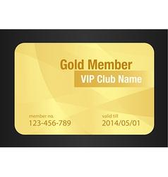 Gold VIP Club Card vector image vector image