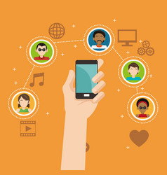 hand hold smartphone social media group connection vector image