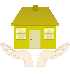 house in the hands vector image
