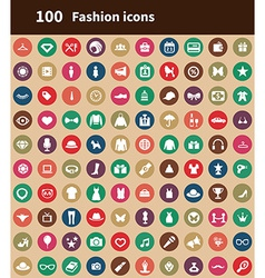 100 fashion icons vector image