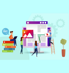 a team people creates a website programmers vector image