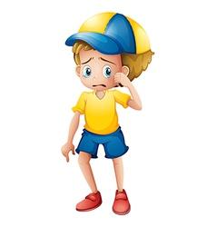 A young boy sobbing vector image