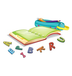 Alphabets and book vector