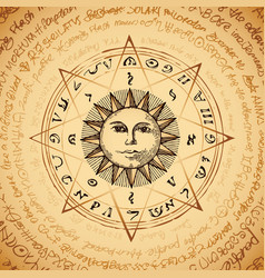 Banner with hand drawn sun and magical spells vector