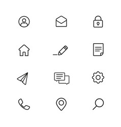 basic set icons on site is a thin line vector image