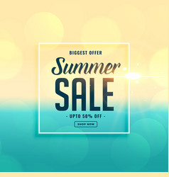 Biggest summer sale beach background vector