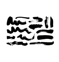 Black paint wavy brush strokes collection vector