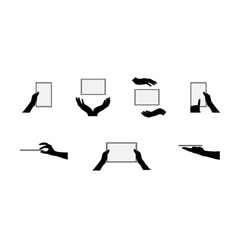 Black Set of Hand and Digital Tablet Computer vector image