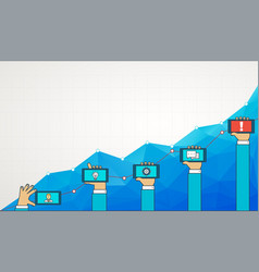 blue business chart graph with line of increase vector image
