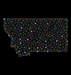 bright mesh carcass montana state map with flash vector image