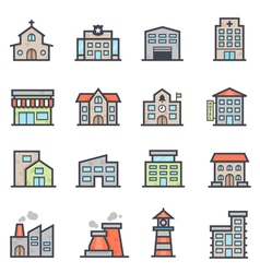 Building Icon Bold Stroke with Color vector image