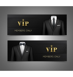 Businessman suit vip cards horizontal banners vector