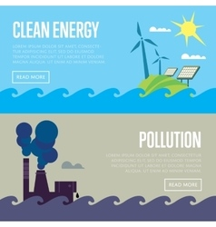 Clean energy and air pollution banners vector image