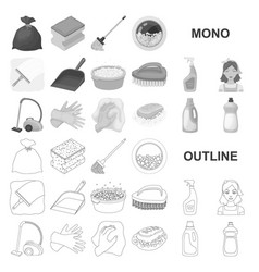 Cleaning and maid monochrom icons in set vector