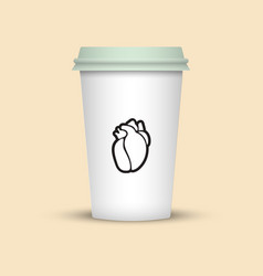 Coffee cup with heart emblem on it vector