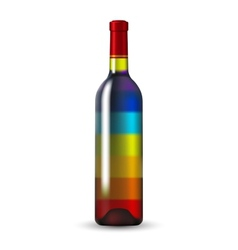 Color Glass Wine Bottle vector image