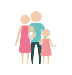 Color silhouette pictogram parents with a baby and vector