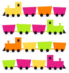 Colorful trains set isolated on white vector