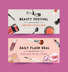 Cosmetic voucher design with brush on mascara vector
