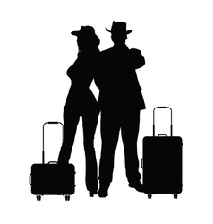 Couple with travel bag silhouette in black vector