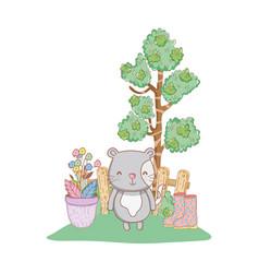 Cute cat in the garden vector