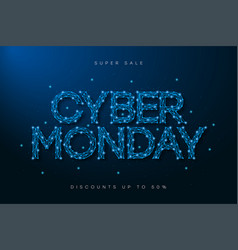 cyber monday sale banner low poly advertising vector image