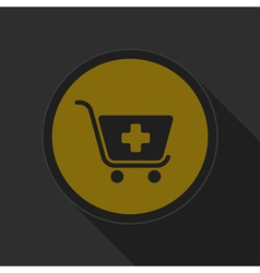 Dark gray and yellow icon - shopping cart plus vector