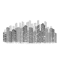 dots buildings isolated architecture city square vector image