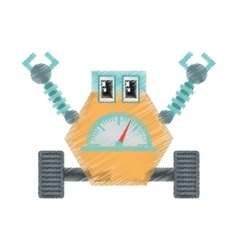 Drawing robot multi-task technology pincers arms vector