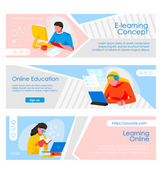Education online web pages set vector