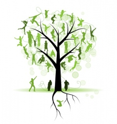 family tree relatives people silhouettes vector image