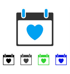Favourite heart calendar day flat icon vector