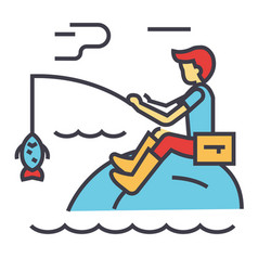 Fishing man with rod concept line icon vector