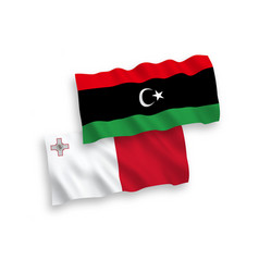 Flags malta and libya on a white background vector