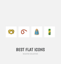 Flat icon food set of spaghetti cookie bratwurst vector