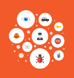 flat icons vision policeman virus and other vector image