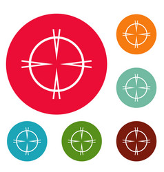 Focal target icons circle set vector