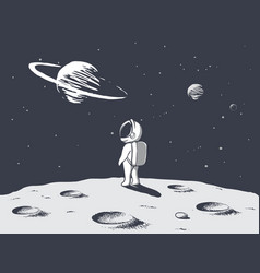 Funny astronaut looks to universe vector