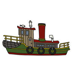 Funny old steam tugboat vector