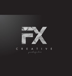 Fx f x letter logo with zebra lines texture vector