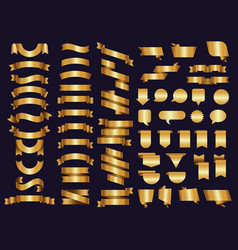golden ribbons decoration symbols tapes vector image