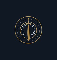 golden sword vintage logo design inspiration vector image