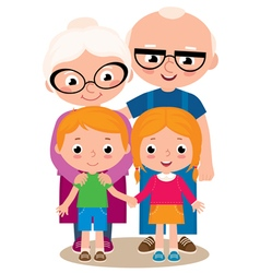 Grandparents and their grandchildren vector