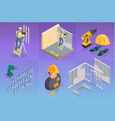 Gypsum partition making isometric concept worke vector