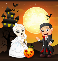 halloween background with female skull bride holdi vector image