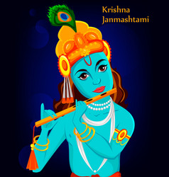 Happy krishna janmashtami greeting card vector
