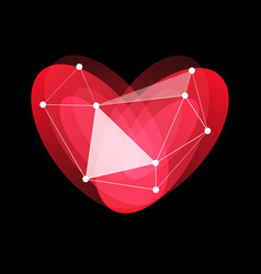happy valentines day logo red glass porcelain vector image