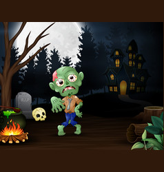 happy zombie outdoors with haunted house backgroun vector image